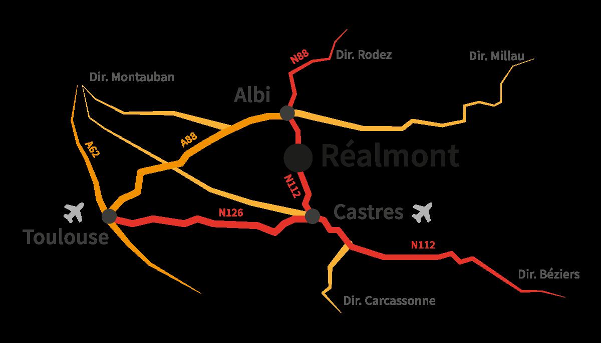 Plan d'accès à Réalmont, aux environs de Toulouse, entre Albi et Castres. Proche de Montauban, Rodez, Millau, Béziers et Carcassonne